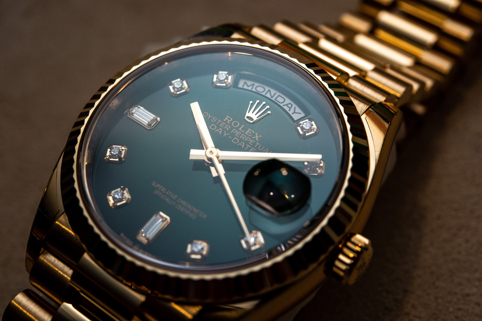 Rolex Day-Date 36, zeleni ombré brojčanik sa dijamantima - Ref. 128238