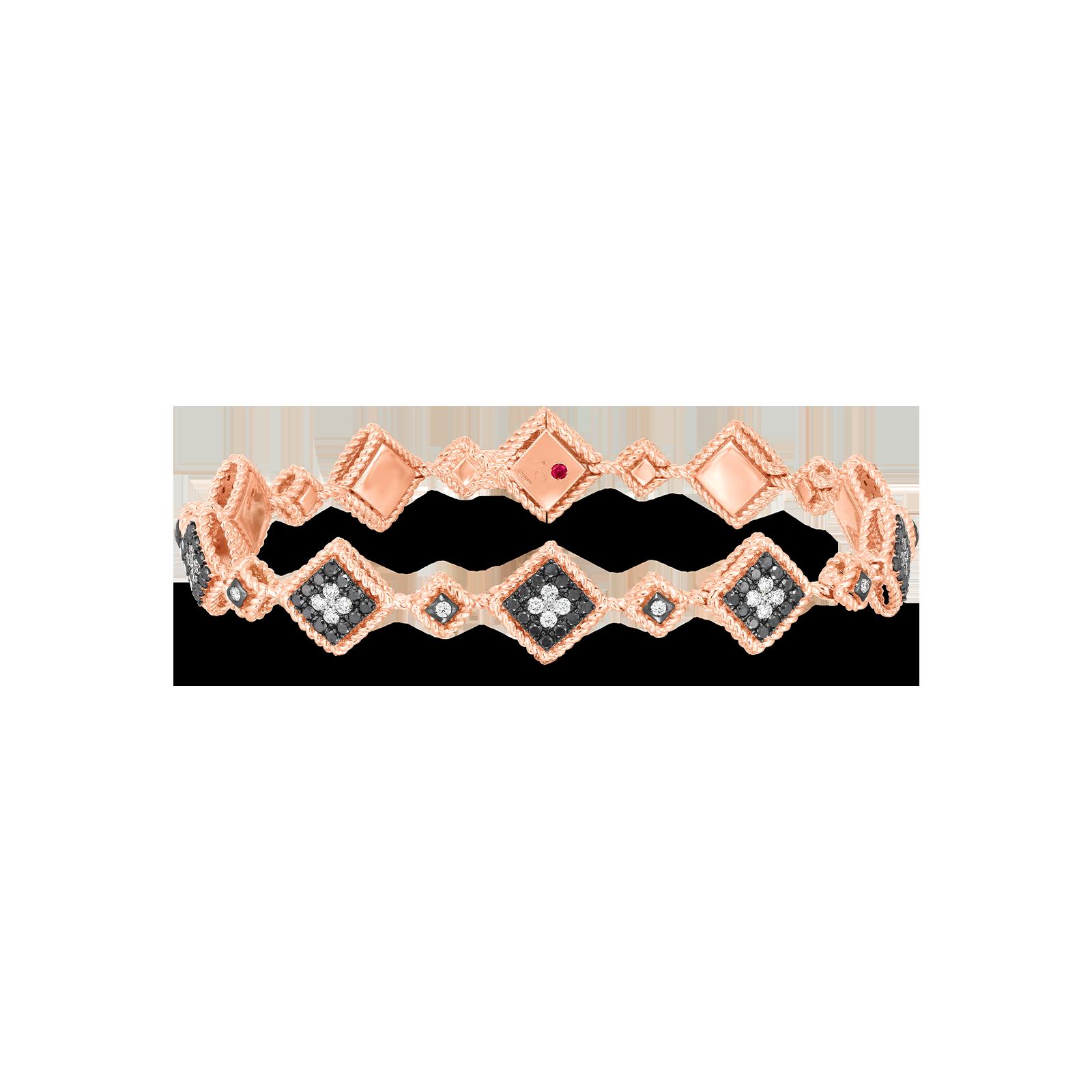 18k rose Palazzo Ducale blk & wht diamond alternating squares bracelet