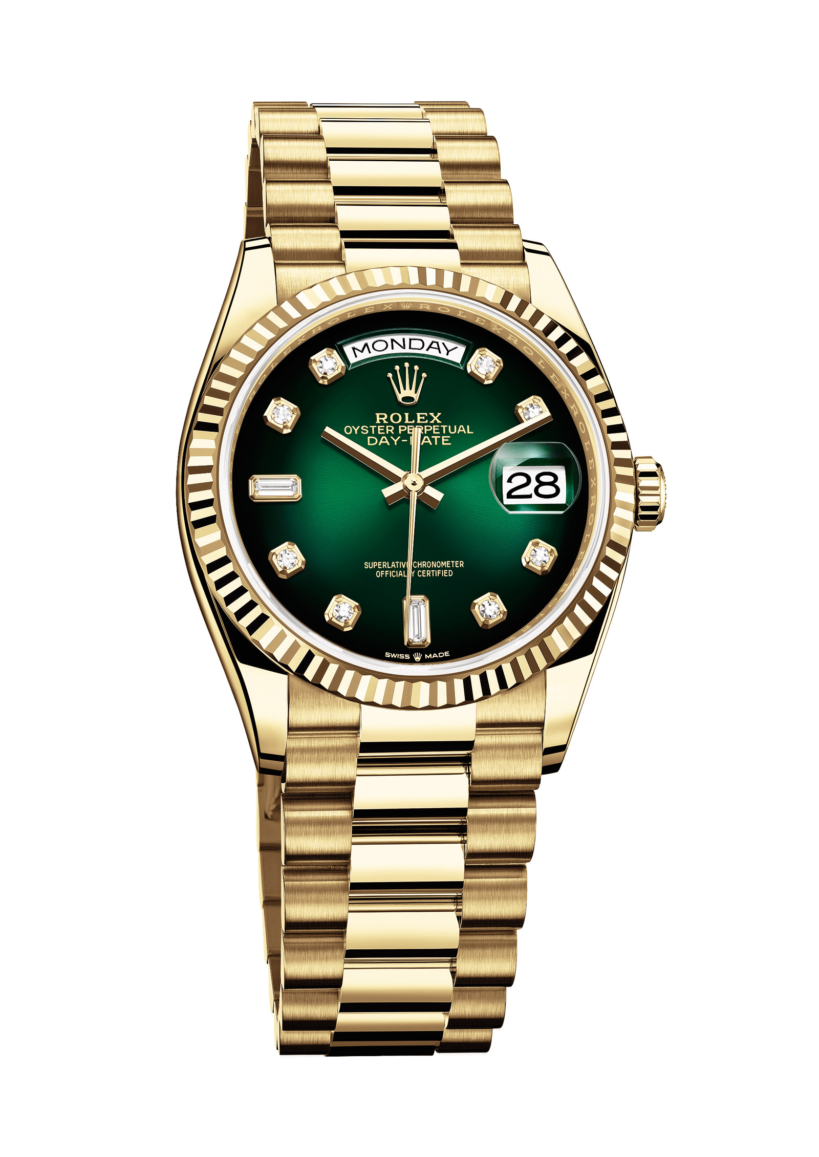 Rolex Day-Date 36 with a green ombré, diamond-set dial - Ref. 128238