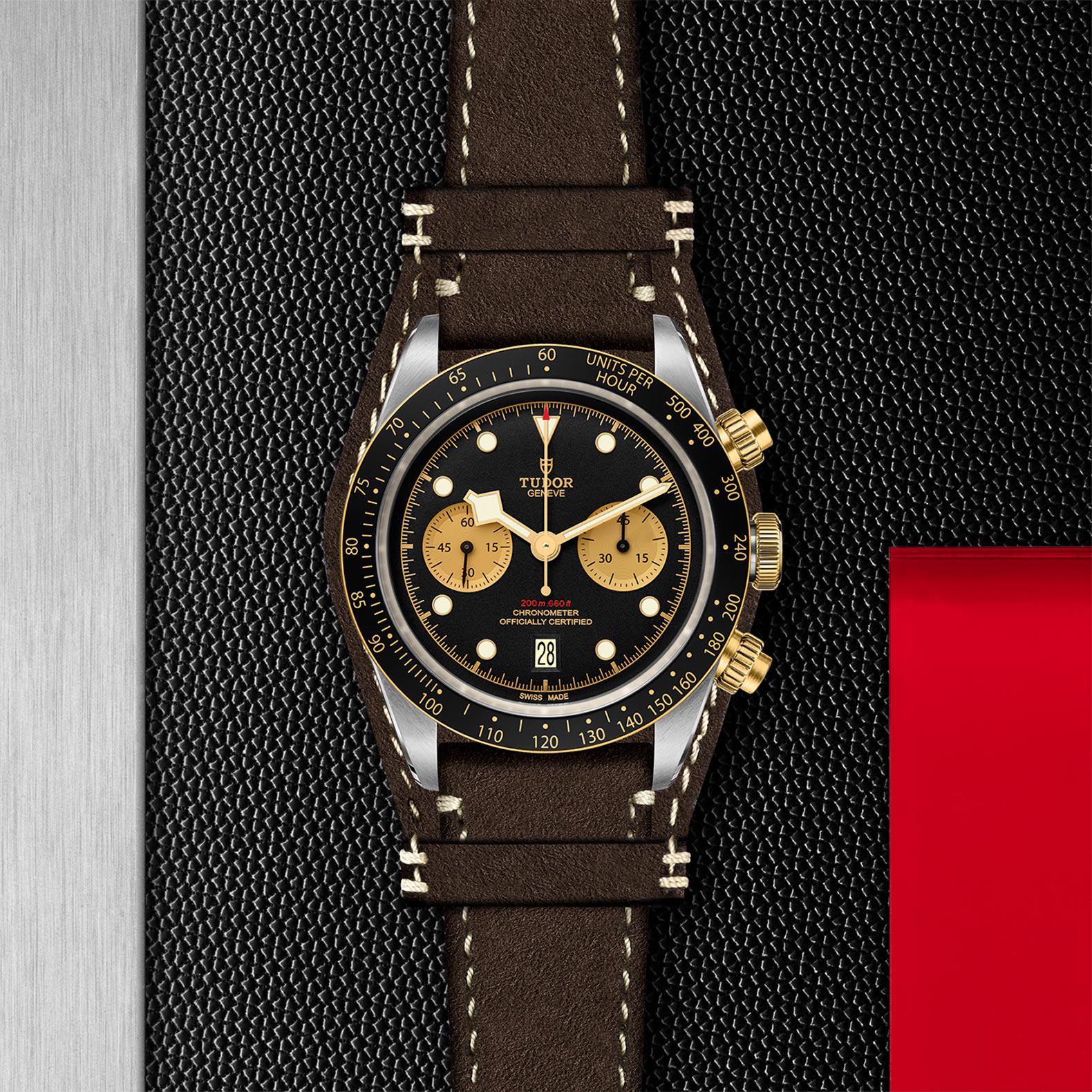 Yellow Gold Bezel Brown leather strap